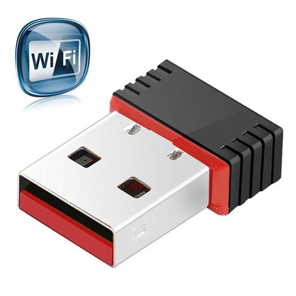 Mini WiFi Adaptador inalámbrico de alta velocidad USB 2.0 Tarjeta de red 150 Mbps 802.11ngb Para macbook XP PC Portátil USB WIFI antena