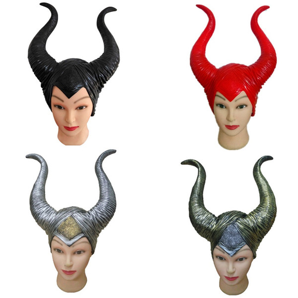 Maleficent horns Mask trendy Genuine latex maleficent wig adult women halloween party costume jolie cosplay headpiece hat