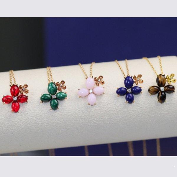 Brand Pure 925 Sterling Silver Jewelry For Women Sakura Flower Neckalce Cherry Flower Pendant Luck Clover Wedding Party Necklace