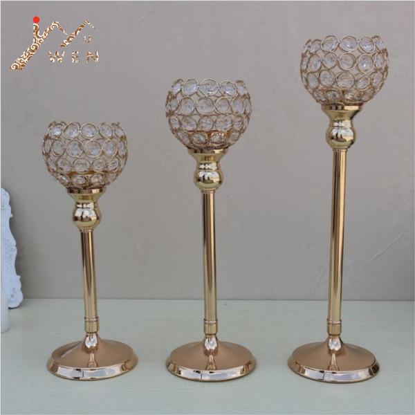 Einzelkerzenhalter K9 Kristalle Gold plattiert Hochzeit Kandelaber / Mittelstück Mitteltisch Dekoration Kerzenständer
