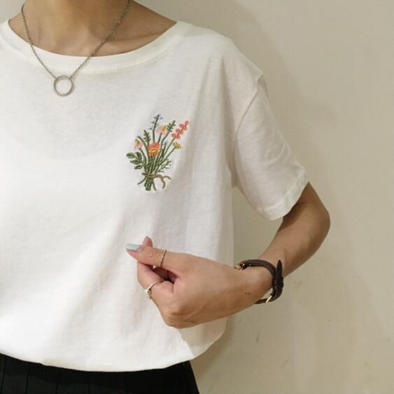 230fb8e23 Hot Sale summer simple flowers embroidered bouquet cotton Comfortable Short  Sleeve T-shirt women casual Top Tee Shirt