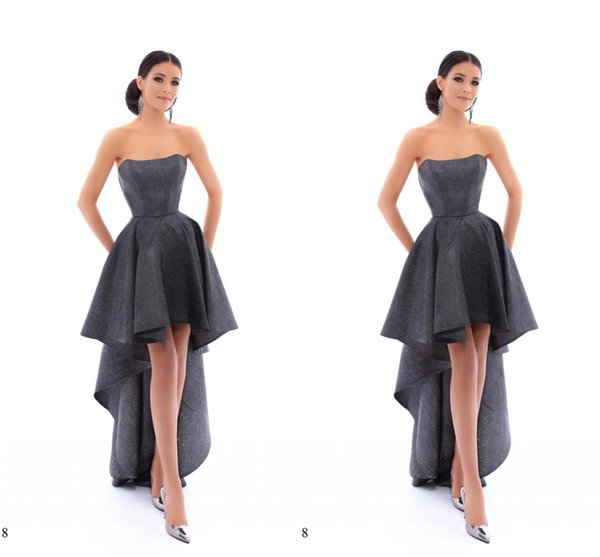 Bling Hi Low Cheap 2019 Prom Evening Dresses Strapless Ruched Short Front Long Back Homecoming Graduation Cocktail Dress Cheap Designer