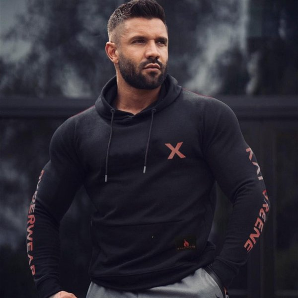 2019 Outono Inverno Nova Marca Homens Hoodies de Algodão Ginásio de Fitness Musculação Camisola Pulôver Sportswear Masculino Roupas Casuais