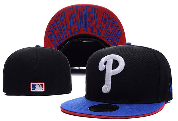 One Piece Men's high quality Phillies Fitted Baseball Hats Black Color Sports Team White Letter P Flat Full Closed Caps Bones