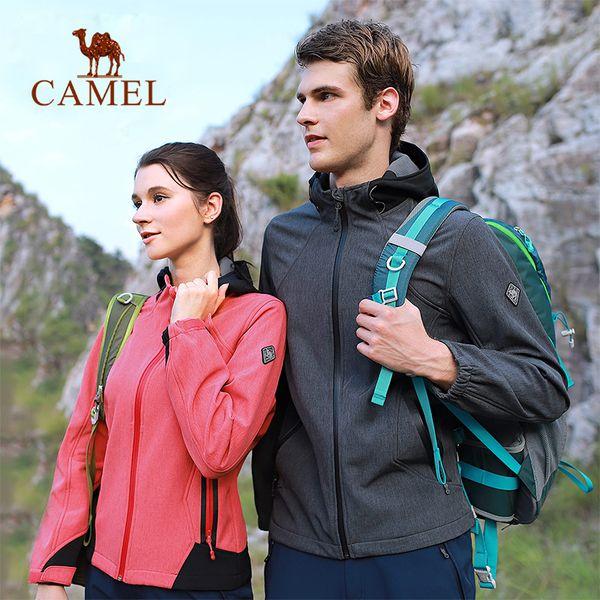 CAMEL Men Women Outdoor Softshell Hiking Jacket Waterproof Windproof Fleece Liner Fishing Hunting Windbreaker Tactical Coat