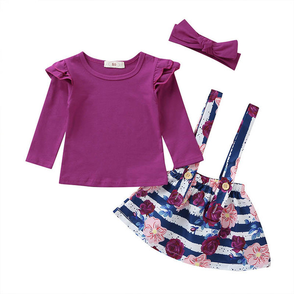 Girls suits floral baby suits kids designer clothes girls outfits long sleeve t shirt+suspender skirt+bows headband girls clothes A6859
