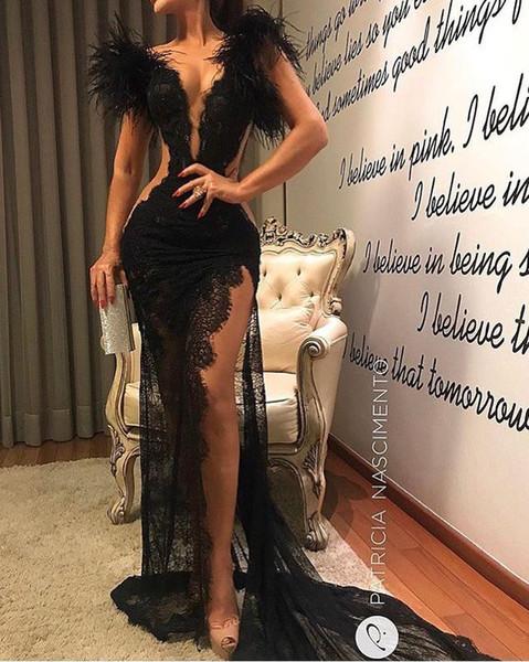 Modernos vestidos de fiesta de encaje negro Lang baratos Sheer Feather sirena vestidos de noche Chapekl tren formales mujeres ocasión especial fiesta vestido de fiesta