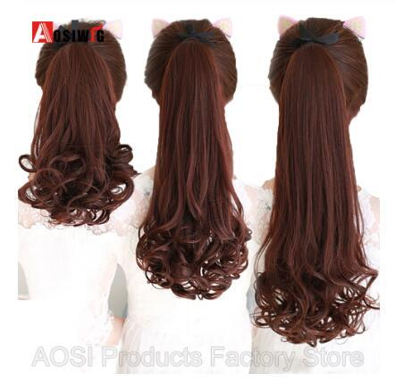 22inches Long Curly Drawstring Ponytail Black Brown Synthetic Fake Hair Heat Resistant Hairpiece Clip In Pony Tail Extension Women