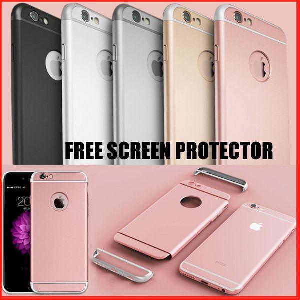 Lusso 3 in 1 ultra-sottile 360 antiurto protezione ibrida pc dura copertura della cassa del telefono opaca shell per Apple iPhone 6 / 6S 7 8 Plus X XS Max XR