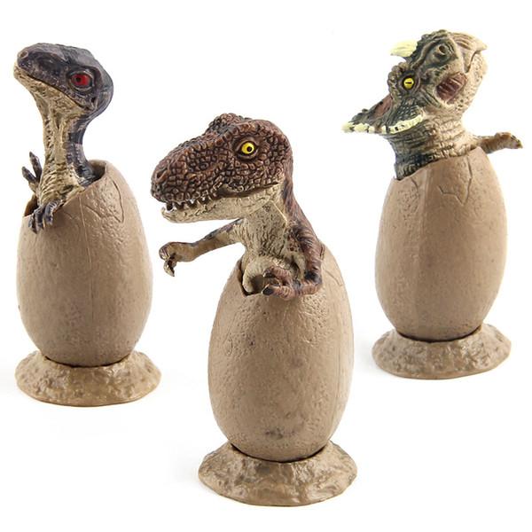 Jurassic Dinosaurier handgemachtes Modell-Brütendes Dinosaurier-Ei-halb ausbrütendes Dinosaurier-Ei-Modell mit Sockel, 3 Teile / Sätze