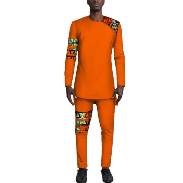 Casual Mens African Clothing Bazin Riche Patchwork Top Shirt and Pants Cotton 2 Pieces Pants Sets Party Wedding WYN501