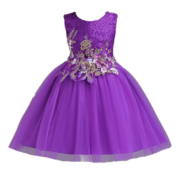 Compre Xabh 2019 Vestidos Para Niñas Patrón Sin Mangas Con Lazo Vestido De Fiesta Vestidos De Novia Para Ninas Disfraces De Graduación Vestido De Bola