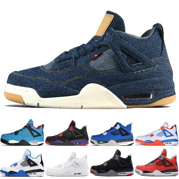 4 4s Трэвис Скоттс кактус Джек мужская баскетбольная обувь Raptors Kaws Denim Eminem Pure Money белый цемент мужчины спортивные кроссовки дизайнерские тренеры