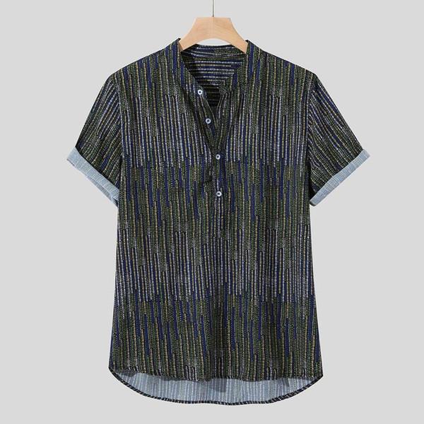 Nuovi arrivi Slim Fit maschio mens camicia Etnica Stampato stand di vendita Collare variopinto della banda di manica corta allentato Henley Shirt M-3XL