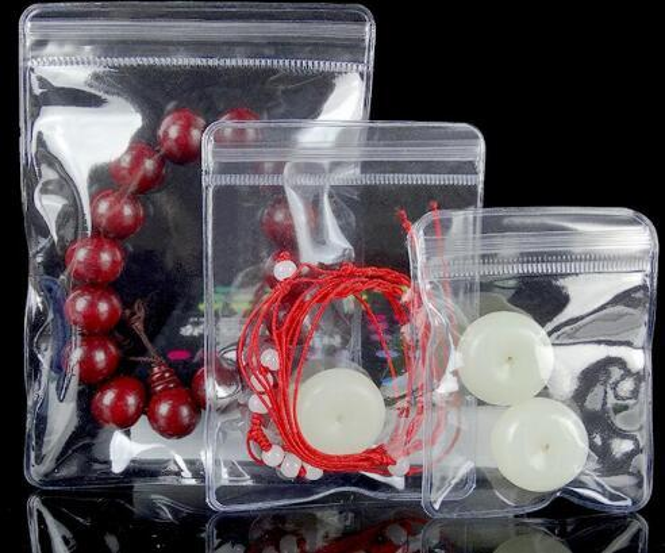 100pcs Mini Self Sealing Zip Lock Plastic Bag Thick Transparent pvc Plastic Zipper bag jewelry gift Earrings packaging