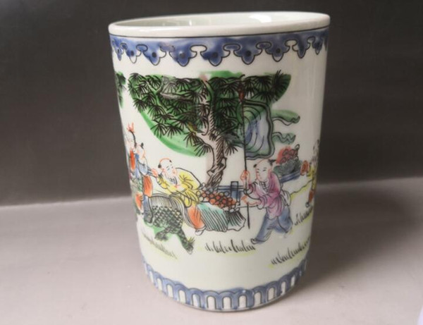 China old porcelain blue and white porcelain painted glaze brush pot pen holder