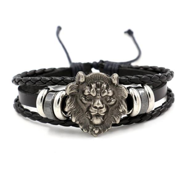 Hand Lion Head Retro Cowskin Bracelet New Men's and Women's Braid Fashion Bracelets Black Brown