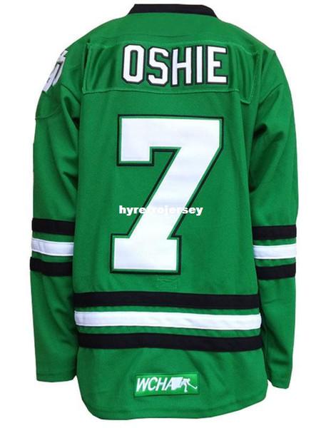 Ucuz Kuzey Dakota Mücadele Sioux 7 TJ Oshie Koleji siyah-beyaz-yeşil Hokey Forması Herhangi bir isim numarası ERKEK KADıNLAR GENÇLİK jersey Özelleştirmek