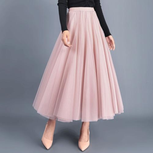 Tingyili Autumn Tulle Skirt Gray Brown Beige Pink Black Long Skirts Womens Elegant Maxi Skirt J190626