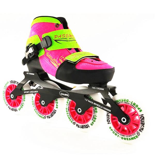 Zapatos de patinaje de velocidad en línea ajustables para niños patines de ruedas en línea profesionales patines de 4 * 100 mm 4 ruedas para niños