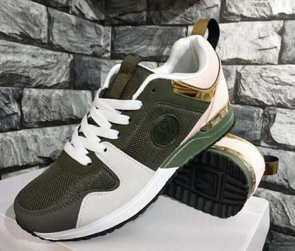 caliente nueva marca de cuero de la llegada de los zapatos ocasionales de las mujeres de la señora de las zapatillas de deporte de diseño zapatos de los hombres de moda de cuero genuino color mezclado Tamaño 36-40 run1986