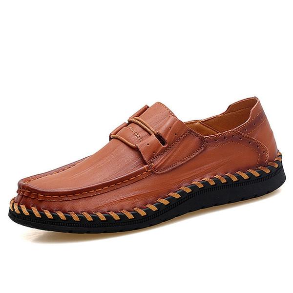 2019 Yeni Erkekler Hakiki Deri Rahat Ayakkabılar El Yapımı Erkekler İtalya Roma Ayakkabı Deri Loafer'lar Kaliteli Düz Moccasins