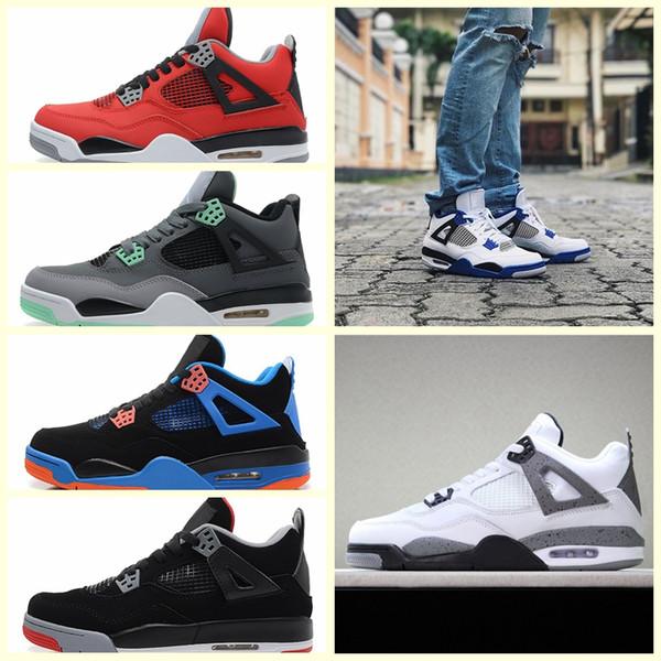Nike Air Jordan Original AJ AJ4 2018 4 4s Sapatos ao ar livre dos homens de Dinheiro Puro Realeza Branco Cement Raptors gato Preto Criados Sapatos Dos Homens dos treinadores de