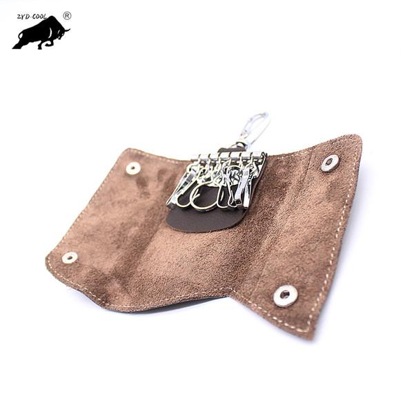 Unisex Designer 100% Genuine Leather Women Men Key Ring Closure Soft Cowhide Female Male Small Short Key Wallet