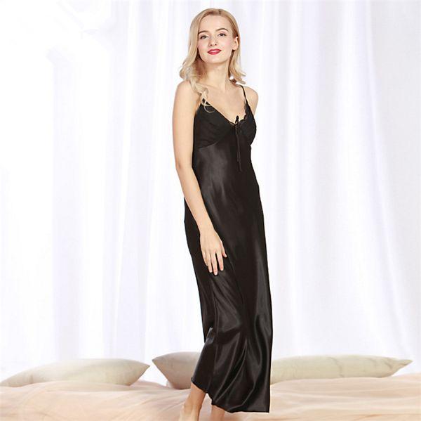 lungo abito sexy di seta della camicia da notte degli indumenti delle donne Estate lunghezza maniche caviglia Dress Lounge sonno camicie solido