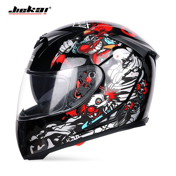 2018 winter new jiekai double lens motorcycle helmet knight full face motorbike helmets of abs pc lens visor size m l xl xxl