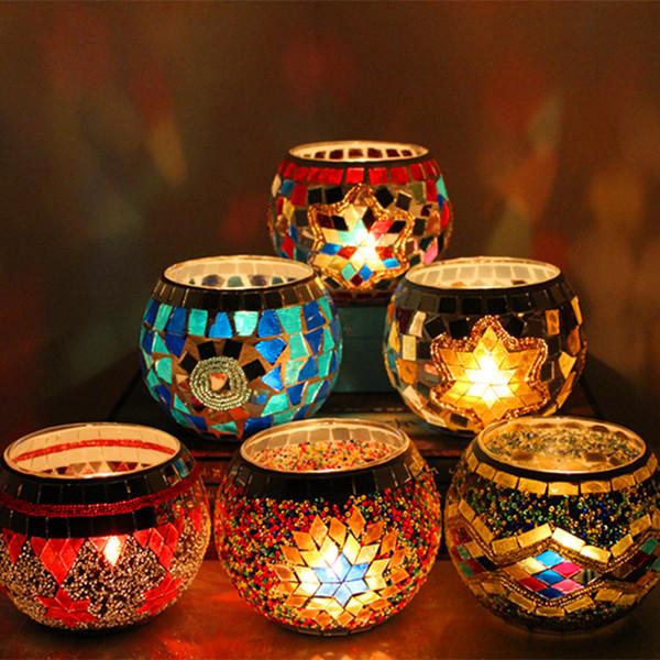 1 X Handmade Mosaik Kerzenhalter Romantisches Candlelight Dinner Hochzeit Glas Kerzenlampe Dekoration