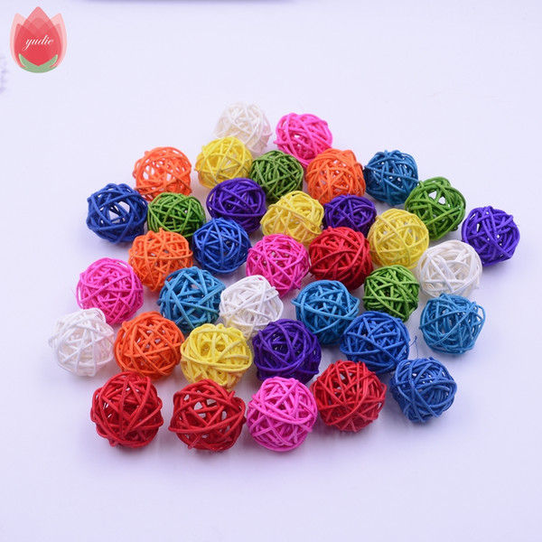 Wholesale 100Pcs/lot 3cm Straw Ball For Birthday Party Wedding Decoration Rattan Decor Christmas Decor Home Ornament Supplies