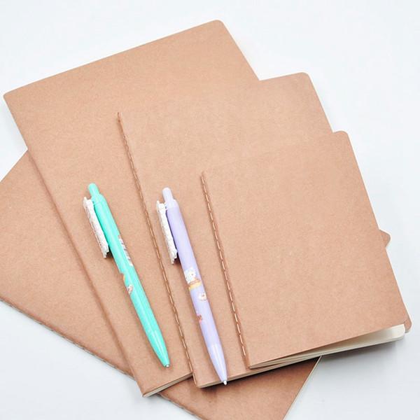 Caderno De Papel De couro Em Branco Notepad Retro Estudante Diário Memos Kraft Capa de Jornal Notebook Escola Escritório Notebook Caderno Macio BH1768 ZX