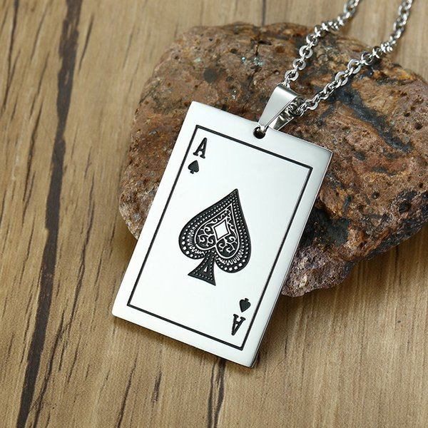 Para hombre Ace Of Spades Collar Tono de Plata Lucky Poker Colgante de Acero Inoxidable Casino Naipes Masculinos Fortune Jewelry