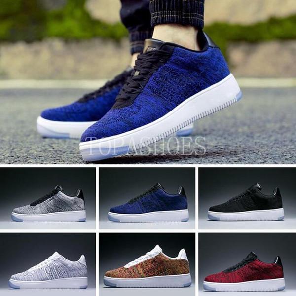 En gros 2018 Date de haute qualité Respirant chaussures basses maille un unisexe 1 tricot Euro hommes femmes designer 36-45 NIKE AIR FORCE 1 AF1