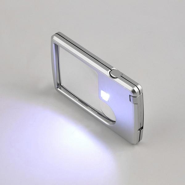 Neue Kreditkarte 88 * 57 * 9mm 2 Objektiv Lupe ultradünne Tragbare Quadratische Mikroskop Mit LED-Licht Ledertasche Für Leseglas