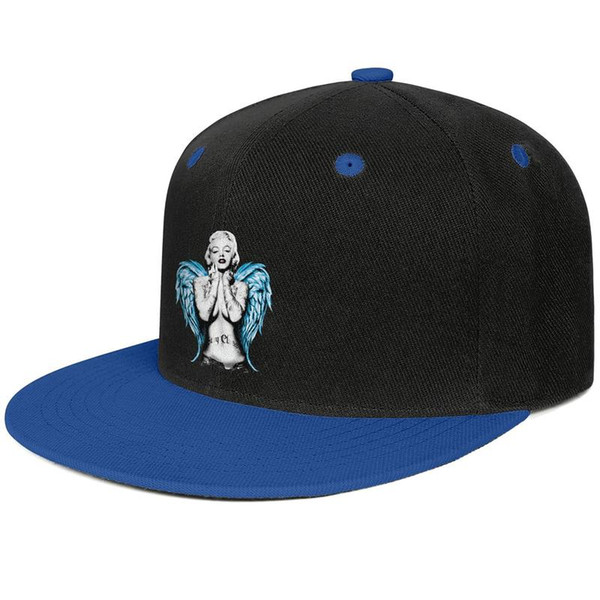 Marilyn Monroe art Angel Wings for men and women flat brim hats Blue snapback cool kids hats sports design your own custom your own stylish