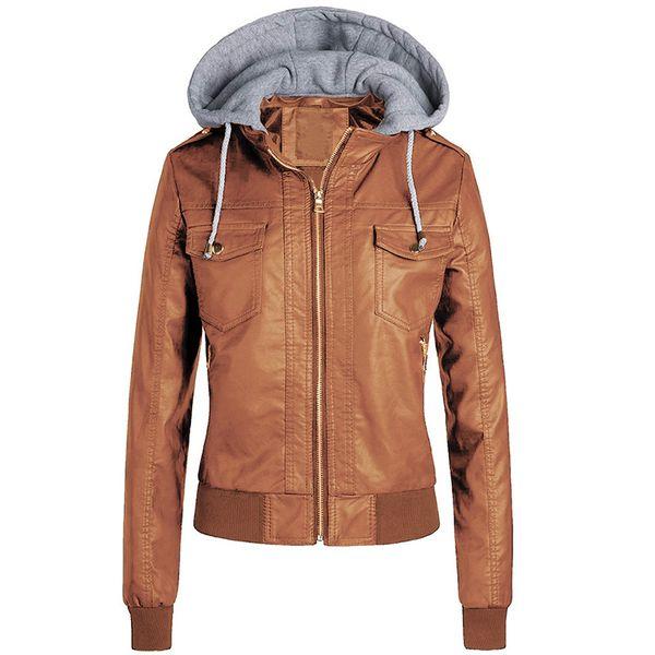 Ailegogo New Women Punk Style Pu Leather Jacket Autumn Winter Hat Detachable Slim Fit Coats Ladies Plus Size 3XL Hooded Outwear