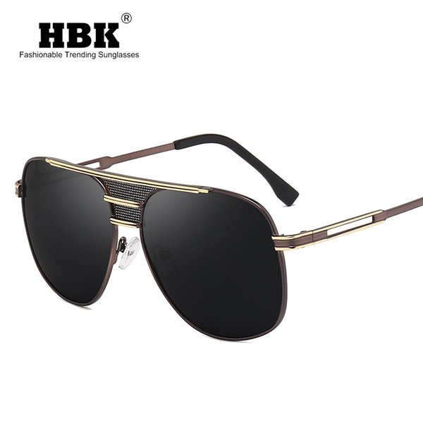 HBK Classic Men Polarized Sunglasses Polaroid Driving Pilot Sunglass Metal Frame Eyewear Sun Glasses UV400 High Quality