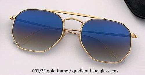 001 / 3F الذهب / التدرج عدسة زجاجية زرقاء
