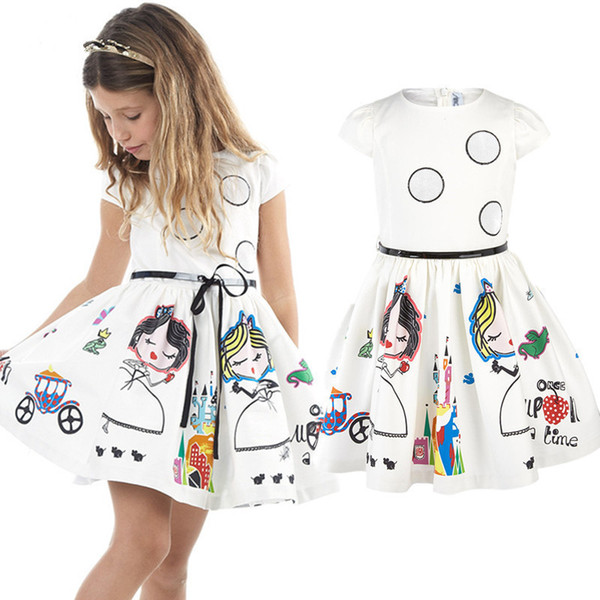 2019 Summer Girls Dress Cartoon Motif mignon d'enfants Robes Girl 2 3 4 5 6 7 8 Année Enfants Princesse Vêtements Tenues Blanc