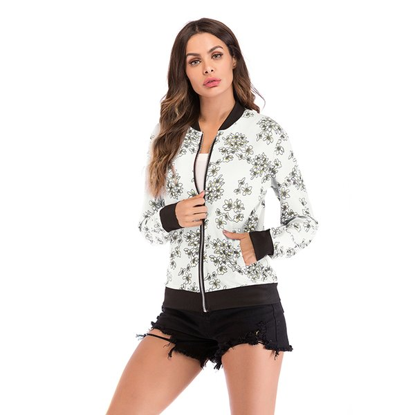 women print bomber jacket outerwear spring tribal office ladies coats and jackets vintage autumn long sleeve coat