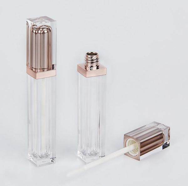 Tubo vazio do brilho do bordo do ouro da categoria superior de Rosa, recipiente líquido plástico do batom, garrafas recarregáveis SN2757 do brilho do bordo da forma quadrada