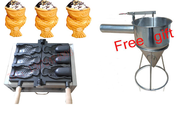 Livraison gratuite ~ 110V / 220v Crème glacée machine fabricant Taiyaki bouche ouverte gaufrier poisson