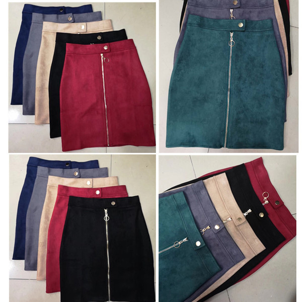 Suede Women A-line Mini Pencil Skirt Female England Style 2019 Winter Zipper Button Ladies Short Skirt Tutu Saia S1911