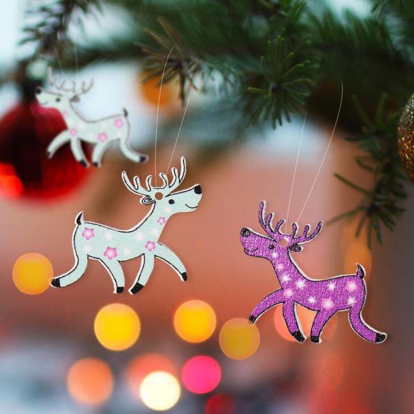 30pcs/bag Christmas Mini Elk Ornament Christmas DIY Wood Craft Hanging Pendant Embellishment Felt Deer Craft Gifts Children Gift