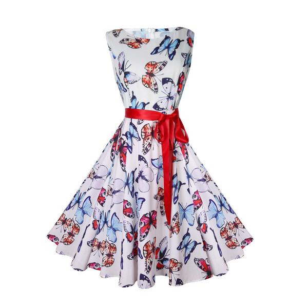 2018 Hot Sale dress female New Fashion Women Vintage Printing Bodycon Sleeveless Halter Evening Party Prom Swing Dress vestidos