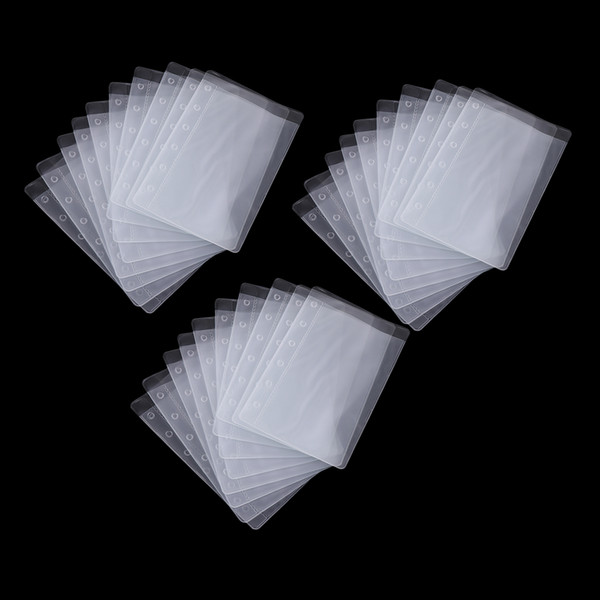 top popular 30 Pcs Durable PVC Binder Pockets Loose Leaf Notebook Refills Filler Organizer for Documents Notebooks Cards, Semi Transparent 2021