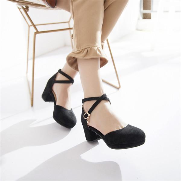 New Flock Platform Chunky Stable Medium High Heel Ladies Heels Party Dress Buckle Strap Shoes Big Size Womens Pumps