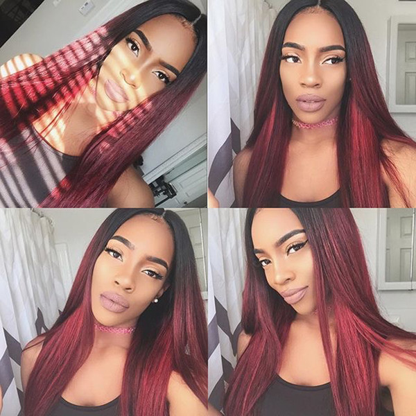 pre plucked full lace human hair wigs red straight brazilian virgin lace front wigs ombre color 99j burgundy bleached konts 360 frontal wig
